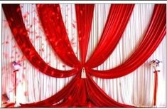 Backdrops Curtain New Design ice silk RED wedding background material scene decorative curtain Wedding curtain Wedding Draping, Wedding Reception Backdrop, Wedding Stage, Purple Wedding, Wedding Church, Wedding Backdrops, Wedding White, Camo Wedding Decorations, Church Altar Decorations