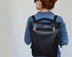 15' Minimalistic Leather Backpack / Leather Rucksack/ by byNizzo