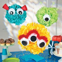 Monster Pom-Pom Decor Idea | If you're throwing a monster of a party, you'll want to include this DIY monster decoration with your party supplies! #party