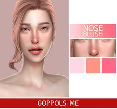 OH HOW COOL! NOSE BLUSH! I will use this for Winter and Summer Season! Created BY GopplesMe! Awesome Artist!! Mods Sims, Sims 4 Game Mods, Sims 4 Cc Eyes, Sims 4 Mm Cc, The Sims 4 Skin, Maxis, Sims 4 Gameplay, Sims 4 Cc Makeup, Sims Four