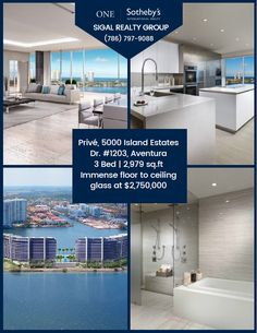 🏘️ #Exclusive #lifestyle meets world class service, discover the ultimate privacy at #Privé 🏘️  Aventura | Unit #1203 3 Bed | 4.5 Bath Immense floor to ceiling glass offered at $2,750,000 Let us show you this new residence, call (786) 797-9088