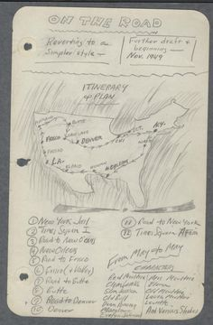 """""""NIGHT NOTES & Diagrams for ON THE ROAD."""" Manuscript notes for the novel, November 1949. New York Public Library, Berg Collection, Jack Kerouac Archive."""