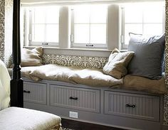 """Smart Storage - 11 """"Sneaky"""" Ideas - Bob Vila Extra Charm With built-in drawers or a lift-top bench seat, window nooks can work double duty, providing not only a cozy place to relax but also a storage spot for less frequently used items. Window Seat Storage, Window Seat Cushions, Window Benches, Window Seats, Window Nooks, Room Window, Bedroom Storage, Bedroom Decor, Bedroom Ideas"""