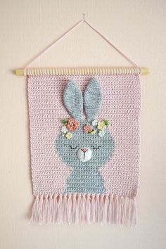 Wall hanging - Wall decor - Crochet decor - Nursery wall decor - Nursery wall hanging - Crochet bunny - Crochet wall decor - Kids room decor - Care - Skin care , beauty ideas and skin care tips Decoration Hall, Decoration Photo, Decoration Christmas, Crochet Decoration, Crochet Wall Art, Crochet Wall Hangings, Tapestry Crochet, Crochet Home, Nursery Wall Decor