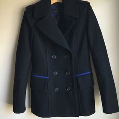 BCBG Pea Coat NEW Size Small Black Absolutely gorgeous. This black pea coat features chic blue detailing. Worn once for about 30 minutes. Size small. BCBGMaxAzria Jackets & Coats Pea Coats