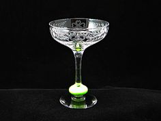 Vintage and rare Libby glass champagne flute with jade