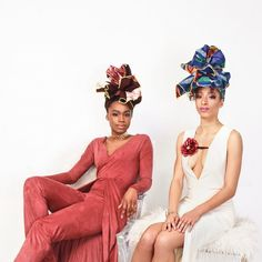 """A portrait of the beautiful @mgcadet & @la_womanistaaa wearing our iconic """"Mariah"""" & """"Ijeoma"""" headwraps like queens. These handmade limited edition wraps and many others will be gone forever by the end of the month. Click the link in our bio to browse for Spring or you could miss out on the most popular colors and prints. If you have ever wondered why our headwraps have become world-famous we'll tell you. We personally select each print for our """"runway"""" from the most gorgeous ankara in West…"""