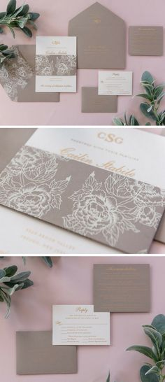 A beautiful, simple design, the Cailin suite features a two-ply, one color metallic thermography invitation with a custom monogram. A custom cover weight envelope will display the return address in metallic ink and is lined to match the floral design of the cardstock bellyband