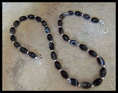 Black Sardonyx Agate Faceted Gemstone Silver Necklace by timelessdesigns07 on Etsy