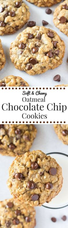 These soft and chewy oatmeal chocolate chip cookies are made with brown sugar, old fashioned oats, chopped walnuts & lots of chocolate chips