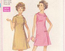 Rouleau de mod col, fermeture latérale robe / des années 1960 une simplicité 8159 Womens Jackie Kennedy courte ligne patron de couture robe / Plus taille 16 1/2 Buste 39