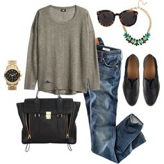 Casual Cool by angela-reiss on Polyvore featuring H&M, J.Crew, 3.1 Phillip Lim, Michael Kors, BaubleBar and Karen Walker