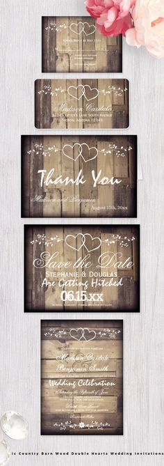 Rustic Country Barn Wood Double Hearts Wedding Invitations Set. #rusticweddinginvitations