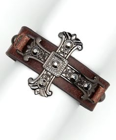 Brown Leather Hematite Cross Bracelet / I Love Accessories