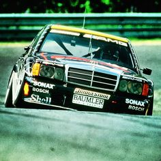 HWA AMG 190E 2,5-16 Evo2. Engine fettled by Cosworth. How ironic that Cosworth have now backed out of F1 and AMG will be supplying Aston with anything requiring wiring or oil.