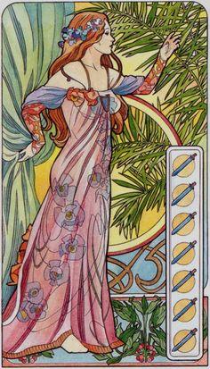 7 d'épées - Tarot art nouveau par Antonella Castelli