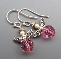Angel Earrings...Pink Swarovski Crystal and Sterling by SweetBirdy