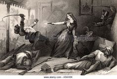 Miss Wheeler defending herself against the rebels at Cawnpore 1857