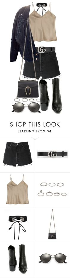 """""""Untitled #21300"""" by florencia95 ❤ liked on Polyvore featuring RE/DONE, Gucci, Etro, Forever 21, Very Volatile and Ray-Ban"""