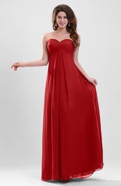 Red Plain Sweetheart Sleeveless Backless Chiffon Floor Length Bridesmaid Dresses