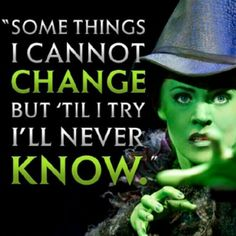Strong story about a woman who was mainly concerned with fixing a problem she saw in society, not focused on being popular, or thin, or her hair. Plus she finds someone to love, and a best friend. Being right and fighting for right is rarely fun and never easy, but Elphaba does it the right way.