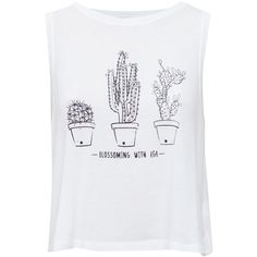 CACTUS T-SHIRT ($13) ❤ liked on Polyvore featuring tops, shirts, blusa, tank tops and shirt tops