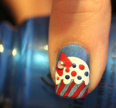 Red, White and Blue Cupcake Nail Tutorial