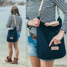Navy blue cotton tote handbag SEAL / natural por MOOSEdesignBAGS