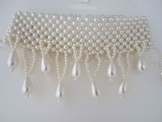 Bead Choker Necklace Cream Multiple Row And Drop Faux Pearls Wedding Evening