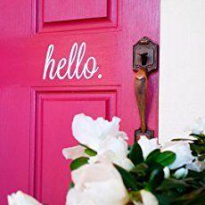 White Hello Front Door Vinyl Decal Cursive Handwriting Wall Art Décor Sticker Lettering Removable #vinyldecalsdoor