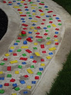 Lego in a pathway for building towers