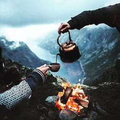 Evening by the fire, overlooking a huge Norwegian Fjord, it can't get any better. Camping Photography, Adventure Photography, Landscape Photography, Nature Photography, Outdoor Photography, Parkour, Best Captions For Selfies, Camping Sauvage, Aerial Images