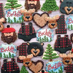 Lumberjack/woodsy first birthday! Can't wait to post the cake bear, plaque, moose, onesie and lumberjack from @kaleidacuts- can you guess what Christmas cutter of theirs I used for the lumberjack?! #caceyscakery #sugarcookies #decoratedcookies #lumberjack #woodsy #firstbirthday #kaleidacuts #woods #birthday #houston #clearlake #pearland #friendswood
