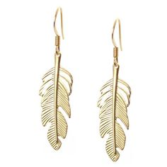 Gold Feather Earrings from Picsity.com