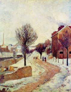 by Paul Gauguin in oil on canvas, done in . Now in a private collection. Find a fine art print of this Paul Gauguin painting. Paul Gauguin, Henri Matisse, Impressionist Artists, Art Moderne, Art For Art Sake, Oil Painting Reproductions, Winter Landscape, Fine Art, Pablo Picasso