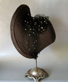 circa 1835 Black Straw Mourning Poke Bonnet