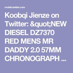 "Koobqi Jienze on Twitter: ""NEW DIESEL DZ7370 RED MENS MR DADDY 2.0 57MM CHRONOGRAPH WATCH https://t.co/ViofuaNi26 https://t.co/TUoFCfo7Bc"""