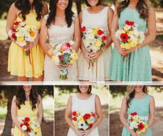 Pretty Mint and Yellow Mismatched Vintage Bridesmaid Dresses 2013