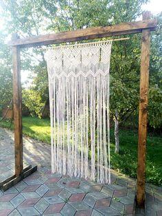 Macrame curtain/ room divider door curtain retro wall hanging/