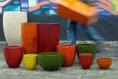 Gallery of Atomic Glazed Pots in various landscapes. Urn, Bold Colors, Garden Pots, Terracotta, Glaze, Modern Design, Planter Pots, Ceramics, Architecture