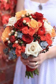 Autumn Wedding Flowers: Bouquet Inspiration. For more ideas, click the picture or visit www.sofeminine.co.uk #weddingflowers #OctoberWeddingIdeas