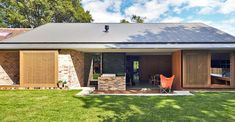 """Andrew Burges Architects revamped a """"badly planned"""" bungalow in Sydney into a light-filled dwelling for six that boasts a low energy footprint. 1940s Bungalow, Recycled Brick, Skylight, Architects, Facade, Recycling, Outdoor Decor, House, Design Ideas"""