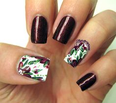 Burgundy Floral #flightofwhimsy #accentnails #nailart - See more nail looks at bellashoot.com & share your faves!