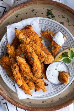 Black Pepper Rub Chicken Fingers with Greek Yogurt Ranch   halfbakedharvest.com