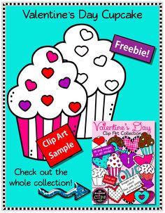 Freebie! Valentine's Day Cupcake - Clip Art Sample http://www.teacherspayteachers.com/Product/Freebie-Valentines-Day-Cupcake-Clip-Art-Sample-1632561