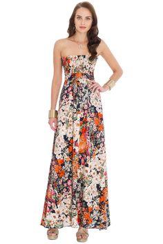 Strapless Flower Print Maxi Dress by City Goddess from Bridget's Boutique