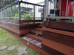 Deck design: Rustic Star Motif Deck Design, Cement, Stairs, Rustic, Wood, Artwork, Home Decor, Pattern, Stairways