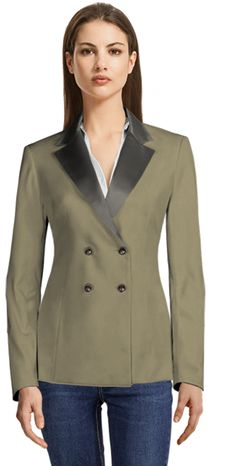 Brown Double Breasted Blazer with Grey Shiny Lapels Blazers For Women, Suits For Women, Double Breasted Blazer, Lapels, Tuxedo, Shirt Dress, Female, Grey, Brown