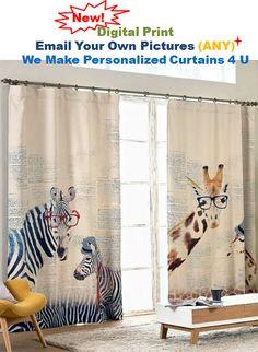"Zebras or Giraffes Nursery or Kid's Room Window Curtain Panel - Triple Woven Light Blocking Fabric . 51"" Wide. Custom Length Available"