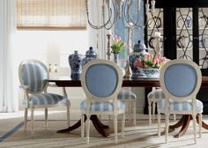Get dining room decorating ideas from Ethan Allen designers! See how they put traditional and modern dining room sets together. Dining Room Design, Dining Room Chairs, Dining Room Furniture, Black Furniture, Accent Furniture, Painted Furniture, Modern Furniture, Furniture Design, French Country Dining Room